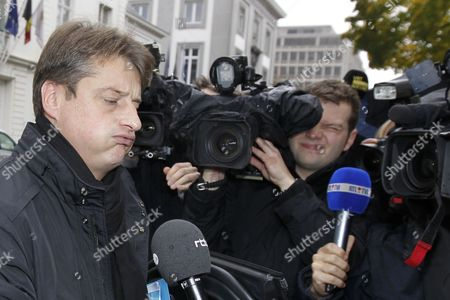 Belgium's Budget Minister and Minister of Administrative Simplification Olivier Chastel Arrives For a Cabinet Ministers Council Meeting in Brussels Belgium 17 November 2012 the Belgian Federal Government Which Must Find a 4 5 Billion Euros For the New 2012/2013 Budget Year is Expecting to Reach an Agreement Before the End of the Week-end Belgium Brussels