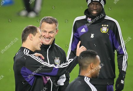 Rsc Anderlecht's Player Milan Jovanovic (l) Talks with Rsc Anderlecht's Head Coach John Van Den Brom During a Training Session at the Constant Vanden Stock Stadium in Brussels Belgium 20 November 2012 Rsc Anderlecht Will Face Ac Milan in a Group C Match of the Uefa Champions League on 21 November Belgium Brussels