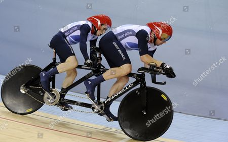 Great Britain's Neil Fachie and Barney Storey on Their Way to Win Gold During the Men's Individual B 1 Kilometer Time Trial Cycling Final at the Velodrome at the Olympic Park During the London 2012 Paralympic Games in London 01 September 2012 United Kingdom London