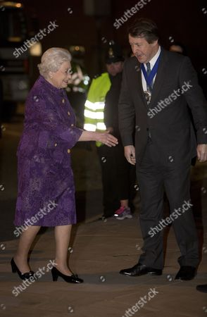 Britain's Queen Elizabeth Ii (l) Greets Alderman Roger Gifford the Lord Mayor of the City of London As She Arrives at the Barbican in London Britain 05 December 2012 to Attend the Queens' Medal For Music Gala Concert United Kingdom London