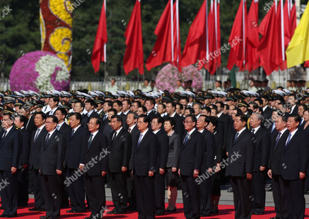 (front L-r) Chinese Vice-premier Li Keqiang Propaganda Chief Li Changchun Premier Wen Jiabao President Hu Jintao Chairman and Party Secretary of the Standing Committee of the National People's Congress Wu Bangguo Chairman and Party Secretary of the National Committee of the People's Political Consultative Conference Jia Qinglin Vice-president Xi Jinping Attend a Flower Laying Ceremony at the Monument to the People's Heroes to Mark National Day on Tiananmen Square in Beijing China 01 October 2012 China's Ruling Communist Party on 28 September Said It Planned to Open a Five-yearly Congress on 08 November to Approve Its First Leadership Changes For a Decade the Crucial Party Congress is Expected to Approve Successors to Current Party Leader and State President Hu Jintao State Premier Wen Jiabao and Other Senior Figures who Will Retire China Beijing