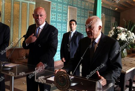Arab League General Secretary Nabil Alaraby (r) Speaks During a Joint Press Conference with Minister of Foreign Affairs of the Netherlands Uri Rosenthal (l) at the Arab League's Headquarters in Cairo Egypt 21 October 2012 Egypt Cairo