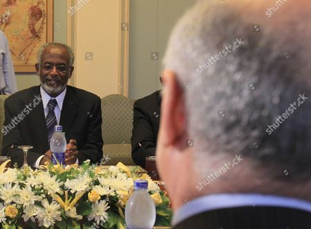 Sudanese Foreign Minister Ali Karti (l) Looks on During a Meeting with His Egyptian Counterpart Kamel Amr (r) at the Foreign Ministry in Cairo Egypt 25 August 2012 Karti Had Met with Egyptian President Mohamed Morsi Earlier During the Day Egypt Cairo
