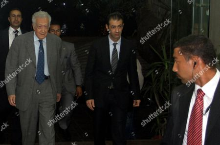 Un Arab League Peace Envoy Lakhdar Brahimi (l) Arrives to Meet with Arab League Secretary General Nabil Alaraby (not Pictured) in Cairo Egypt Late 16 October 2012 the Arab League Said on 16 October That It Supports a Call For a Ceasefire by Un Syria Envoy Lakhdar Brahimi Brahimi Met with Egyptian Foreign Minister Mohamed Kamel Amr Earlier the Same Day to Discuss His Efforts to Secure a Ceasefire the Algerian Diplomat Visited Iraq Saudi Arabia Turkey and Iran Unconfirmed Reports Said That He Might Head to Syria But There was No Official Confirmation From Damascus Egypt Cairo