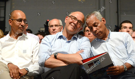 (l-r) Harlem Desir European Deputy French Finance Minister Pierre Moscovici Socialist Party Secretary For Overseas Territories Victorin Lurel Attend the Annual 'Summer School' of Socialist Party in La Rochelle France 25 August 2012 the Annual 'Summer School' is where Party Leaders and Members Come Together to Discus Past Mistakes and Future Strategies France La Rochelle