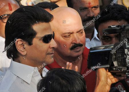 Bollywood Vetern Actor Jitendra and Director Rakesh Roshan Speaks to Media After Visiting the Shiv Sena Chief Bal Thackeray at His Residnece in Mumbai India 16 November 2012 Bal Thackeray 86 Founder of the Hindu Right-wing Shiv Sena is Critically Ill at His House in Mumbai His Son Uddhav Thackeray Said 15 November Thousands of Anxious Supporters Gathered Outside Thackeray's House and More Than 1500 Policemen Were Deployed in the Area to Maintain the Peace Times Now Television Channel Reported the Controversial Politician Floated the Shiv Sena Party in 1996 As a Marathi-pride Movement to Fight For the Rights of Maharashtrians who He Claimed Were Threatened by the Influx of Immigrants From Other Parts of Indiato Mumbai and Other Towns India Mumbai
