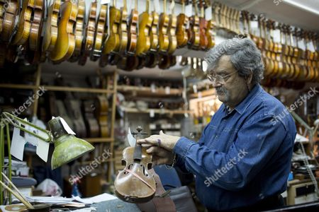 Stock Image of Amnon Weinstein a Holocaust Violin Collector Holds a Violin with a Handwritten Swastika Inside and the Words 'Heil Hitler' and the Year 1936 Which He Received Recently From Us Violin Maker Josh Henry of Washington Dc in His Workshop in Tel Aviv Israel 07 April 2013 Weinstein a Second Generation Israeli Violin Maker Has a Collection of More Than 45 Violins From the Holocaust Period Which He Has Collected Over the Last 20 Years Israel Marks Holocaust Remembrance Day For Twenty-four Hours Beginning This Evening Remembering the 6-million Jews who Perished in the Holocaust of World War Ii Israel Tel Aviv