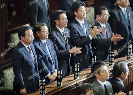 Japanese Prime Minister Yoshihiko Noda (l) Stands with Chief Cabinet Secretary Osamu Fujimura (2nd L) Seiji Maehara (3rd L) Minister For National Policy and Foreign Minister Koichiro Gemba (3rd R) After Japan's Lower House was Dissolved in Tokyo Japan 16 November 2012 Japan Tokyo