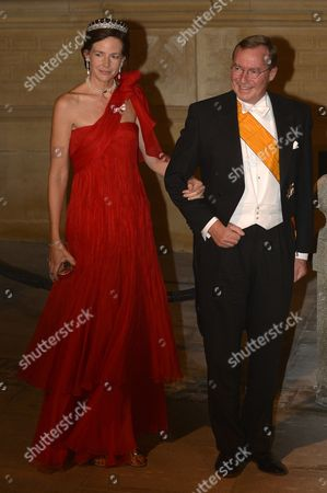 Prince Jean of Luxembourg (r) and Countess Diane of Nassau (l) Arrive For the Gala Dinner in Honor of Prince Guillaume Hereditary Grand Duke of Luxembourg and His Wife Countess Stephanie De Lannoy at the Grand-ducal Palace in Luxembourg City Luxembourg 19 October 2012 the Religious Ceremony Will Be Celebrated on 20 October Luxembourg Luxembourg