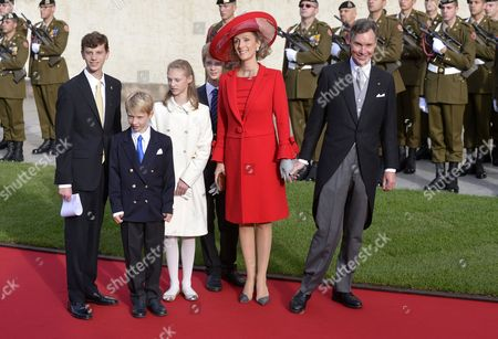 Prince Guillaume (r) and Princess Sibilla of Luxembourg (2-l) Arrive with Their Children For the Religious Wedding Ceremony of Prince Guillaume Hereditary Grand Duke of Luxembourg and Princess Stephanie Hereditary Grand Duchess of Luxembourg at the Cathedral of Our Lady of Luxembourg in Luxembourg City 20 October 2012 Celebrations Started on 19 October with a Civil Ceremony and a Gala Dinner For Family Members Monarchs National Authorities and Other Guests Luxembourg Luxembourg