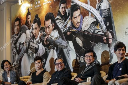 Stock Picture of Hong Kong Actors Ekin Cheng (l) Yu Bo (2-l) Vic Chou (r) with Director Ronnie Yu (c) and Producer Raymond Wong (2-r) Attend the Press Conference of the Movie 'Saving General Yang' in Kuala Lumpur Malaysia 31 March 2013 the Movie Directed by Hong Kong's Ronny Yu is Scheduled to Be Released on 04 April Malaysia Kuala Lumpur