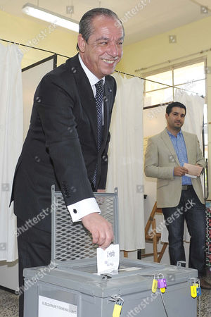 Stock Picture of Former Prime Minister and Nationalist Party Leader Lawrence Gonzi Casts His Vote at a Primary School Polling Station in Marsascala Village Near Valletta Malta 9 March 2013 As the Island Nation Votes in General Elections the Result is Expected 10 March Malta Valletta