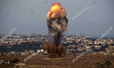 A Bomb Dropped by an Israeli Warplane Explodes at a Alleged Position of Hamas Extremists in the Northern Gaza Strip 16 November 2012 Israeli Forces Launched a Heavy Barrage of Bombs at the Break of Dawn But Also Announce a Three Hours Ceasefire During the Visit of the Egyptian Prime Minister Hesham Qandil in the Gaza Strip Israel Gaza Border
