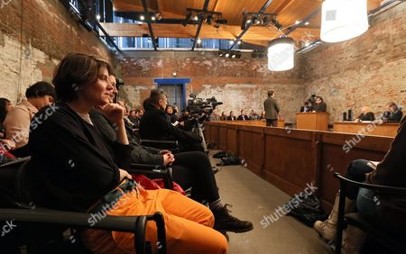 Pussy Riot's Yekaterina Samutsevich (l) Sits During the Video Recording of the Theater Project 'Moscow Trials' at the Sacharow Centre in Moscow Russia 03 March 2013 the Theater Project by Swiss Director Milo Rau and the International Institute of Political Murder Re-enacts the Trial Against Russian Punk Band Pussy Riot and Continues Until 03 March Three Members of Pussy Riot Were Found Guilty of Hooliganism Motivated by Religious Hatred in August 2012 For the Group's Performance at the Christ the Savior Cathedral in Moscow Russia Russian Federation Moscow