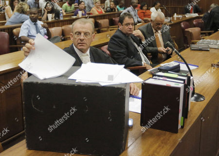 State Prosecutor Gerrie Nel (l) and His Team Arrive For the Bail Application Appeal of Murder Suspect Oscar Pistorius in Pretoria South Africa 28 March 2013 Pistorius Did not Appear in Court the Case is Postponed Until 04 June 2013 South Africa Pretoria