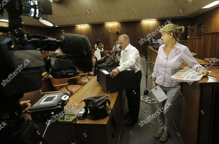 International Media Teams Set Up Their Cameras As State Prosecutor Gerrie Nel (c) Arrives For the Bail Application Appeal of Murder Suspect Oscar Pistorius in Pretoria South Africa 28 March 2013 Pistorius Did not Appear in Court the Case is Postponed Until 04 June 2013 South Africa Pretoria