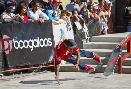 Skateboarder Manny Santiago From the Usa Wipes out on the Street Course During the 2012 Skateboarding World Championships Maloof Money Cup in Kimberley South Africa 29 September 2012 the World's Best Skateboarders Are Competing For the Biggest Cash Prize in Skateboarding in the Three Disciplines of Street Vert and Mega Ramp the Maloof Money Cup South Africa Skate Park is Built Next to the Famous Kimberley Diamond Mine and is a New Destination For Skateboarders Around the World As Well As Being a Centre For Youth Development and Community Upliftment Through the Skate For Hope Programme Initiated by the Us Hotel Property Ticoons the Maloof Brothers South Africa Kimberley