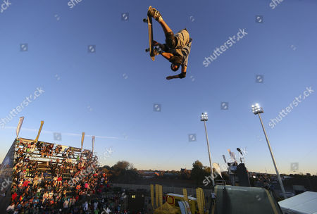 Andy Macdonald From the Usa Competes on the Mega Ramp During the 2012 Skateboarding World Championships Maloof Money Cup in Kimberley South Africa 29 September 2012 the World's Best Skateboarders Are Competing For the Biggest Cash Prize in Skateboarding in the Three Disciplines of Street Vert and Mega Ramp the Maloof Money Cup South Africa Skate Park is Built Next to the Famous Kimberley Diamond Mine and is a New Destination For Skateboarders Around the World As Well As Being a Centre For Youth Development and Community Upliftment Through the Skate For Hope Programme Initiated by the Us Hotel Property Ticoons the Maloof Brothers South Africa Kimberley