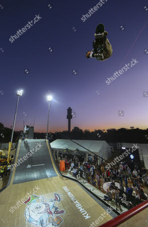 Bob Burnquist From Brazil Competes on the Mega Ramp During the 2012 Skateboarding World Championships Maloof Money Cup in Kimberley South Africa 29 September 2012 the World's Best Skateboarders Are Competing For the Biggest Cash Prize in Skateboarding in the Three Disciplines of Street Vert and Mega Ramp the Maloof Money Cup South Africa Skate Park is Built Next to the Famous Kimberley Diamond Mine and is a New Destination For Skateboarders Around the World As Well As Being a Centre For Youth Development and Community Upliftment Through the Skate For Hope Programme Initiated by the Us Hotel Property Ticoons the Maloof Brothers South Africa Kimberley