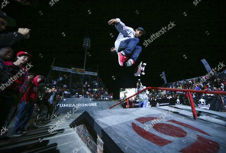Skateboarder Manny Santiago From the Usa Performs During the Opening Ceremony of the 2012 Skateboarding World Championships Maloof Money Cup in Kimberley South Africa 28 September 2012 the World's Best Skateboarders Are Competing For the Biggest Cash Prize in Skateboarding in the Three Disciplines of Street Vert and Mega Ramp South Africa Kimberley
