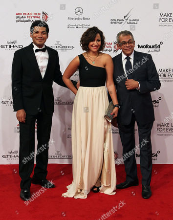 Stock Image of (l-r) Egyptian Actor Bassem Samra Actress Menna Shalabi and Director Yousry Nasrallah Arrive For the Opening Ceremony of the Abu Dhabi Film Festival (adff 2012) in Abu Dhabi United Arab Emirates 11 October 2012 a Total of 81 Feature Length Films and 84 Short Films Representing 48 Countries Will Be Screened at the Festival United Arab Emirates Abu Dhabi
