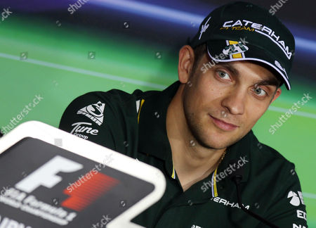 Russian Formula One Driver Vitaly Petrov of the Caterham F1 Team Attends a Press Conference at Yas Marina Circuit in Abu Dhabi United Arab Emirates 01 November 2012 the Formula One Grand Prix of Abu Dhabi Will Take Place on 04 November 2012 United Arab Emirates Abu Dhabi
