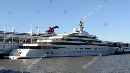 Stock Photo of Russian Billionaire Roman Abramovic Yacht Eclipse Sits Docked on the Hudson River Near Midtown Manhattan New York New York Usa 18 February 2013 Reports State That the Yacht Arrived in the Hudson River on 13 February 2013 and is Currently the World's Largest Private Yacht United States New York