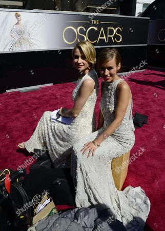 German Television Personalities Annemarie Warnkross (r) and Lena Gerke (l) on the Red Carpet Outside the Entrance to the Dolby Theatre a Day Before the Start of the 85th Academy Awards at the Dolby Theatre in Hollywood California Usa 23 February 2012 United States Hollywood