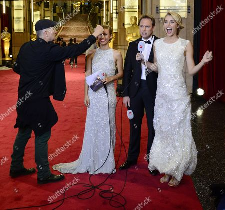 German Television Personalities Annemarie Warnkross (2-l) and Lena Gerke (r) on the Red Carpet Outside the Entrance to the Dolby Theatre a Day Before the Start of the 85th Academy Awards at the Dolby Theatre in Hollywood California Usa 23 February 2012 United States Hollywood