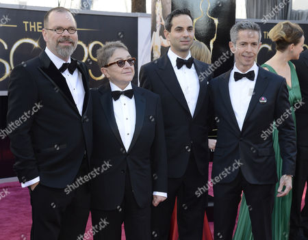 Us Writer and Filmmaker David France (l) Producer Joy a Tomchin (2-l) Jonathan Lovitz (2-r) and Peter Staley Arrive on the Red Carpet For the 85th Academy Awards at the Dolby Theatre in Hollywood California Usa 24 February 2013 the Oscars Are Presented For Outstanding Individual Or Collective Efforts in Up to 24 Categories in Filmmaking United States Hollywood
