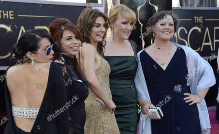 Filmmakers Cynthia Wade (3-l) and Robin Honan (2-r) and Guests Arrive on the Red Carpet For the 85th Academy Awards at the Dolby Theatre in Hollywood California Usa 24 February 2013 the Oscars Are Presented For Outstanding Individual Or Collective Efforts in Up to 24 Categories in Filmmaking United States Hollywood