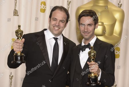 British Filmmaker Simon Chinn (l)and Swedish Filmmaker Malik Bendjelloul (r) Hold Their Oscars For Best Documentary Feature For 'Searching For Sugar Man' at the 85th Academy Awards at the Dolby Theatre in Hollywood California Usa 24 February 2013 the Oscars Are Presented For Outstanding Individual Or Collective Efforts in Up to 24 Categories in Filmmaking United States Hollywood
