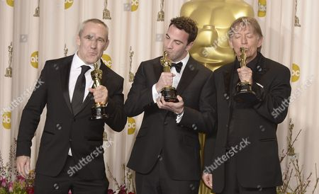 (l-r) British Sound Engineers Simon Hayes Mark Paterson and Andy Nelson Hold Their Oscars For Achievement in Sound Mixing For 'Les Miserables' at the 85th Academy Awards at the Dolby Theatre in Hollywood California Usa 24 February 2013 the Oscars Are Presented For Outstanding Individual Or Collective Efforts in Up to 24 Categories in Filmmaking United States Hollywood