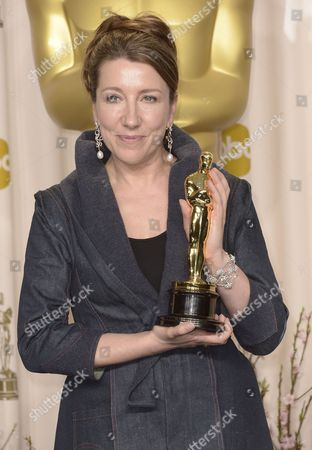 British Costume Designer Jacqueline Durran Holds Her Oscar For Achievement in Costume Design For 'Anna Karenina' at the 85th Academy Awards at the Dolby Theatre in Hollywood California Usa 24 February 2013 the Oscars Are Presented For Outstanding Individual Or Collective Efforts in Up to 24 Categories in Filmmaking United States Hollywood