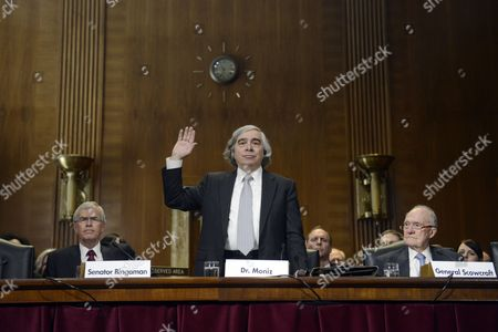 Ernest Moniz (c) is Sworn in to Appear Before the Senate Energy and Natural Resources Committee Hearing on His Nomination to Be Us Energy Secretary on Capitol Hill in Washington Dc Usa 09 April 2013 Also in the Picture is Former Democratic Senator From New Mexico Jeff Bingaman (l) and Retired Us Air Force Lieutenant General Brent Scowcroft (r) United States Washington