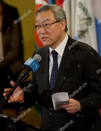 South Korean Foreign Minister Kim Sung-hwan Talks with Reporters After Reading a Statement Agreed Upon by the United Nations Security Council During an Emergency Meeting in Response to a Nuclear Test by North Korea at United Nation Headquarters in New York New York Usa 12 February 2013 South Korean Foreign Minister Kim Sung-hwan who Presided the Council Meeting in New York Said the Nuclear Test was a 'Clear Threat to International Peace and Security' and a Threat to the Korean Peninsula As Well As Northeast Asia United States New York