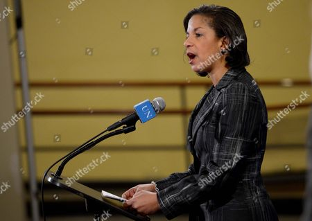 Stock Picture of Susan Rice United States Ambassador to the United Nations Talks with Reporters Following an Emergency United Nations Security Council in Response to a Nuclear Test by North Korea at United Nations Headquarters in New York New York Usa 12 February 2013 South Korean Foreign Minister Kim Sung-hwan who Presided the Council Meeting in New York Said the Nuclear Test was a 'Clear Threat to International Peace and Security' and a Threat to the Korean Peninsula As Well As Northeast Asia United States New York