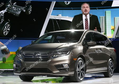 Stock Photo of John Mendel, Executive Vice President American Honda Motor Company speaks about the new Odyssey mini van at the North American International Auto Show, at the Cobo Center in Detroit, Michigan, USA, 09 January 2017.The automobile show opened on 08 January and will last until 22 January with the show being opened to the public from 14 January on.