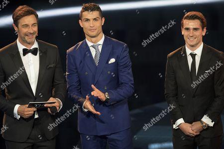 Stock Image of Cristiano Ronaldo, Antoine Griezmann and Marco Schreyl