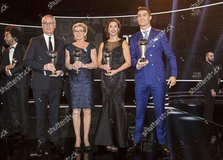 Claudio Ranieri, Silvia Neid, Carli Lloyd and Cristiano Ronaldo
