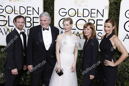 Stock Picture of (L-R) Producer Jonas Dornbach, actor Peter Simonischek, actress Sandra Huller, director Maren Ade and Janine Jackowski arrive for the 74th annual Golden Globe Awards ceremony at the Beverly Hilton Hotel in Beverly Hills, California, USA, 08 January 2017.