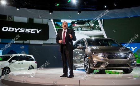 American Honda Executive Vice President John Mendel speaks about the new Honda Odyssey minivan at the North American International Auto Show, in Detroit