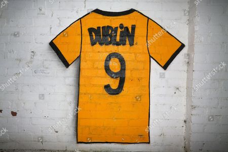 Dion Dublin number 9 shirt painted on the wall on the way into the ground during Cambridge United vs Leeds United, Emirates FA Cup Football at the Cambs Glass Stadium on 9th January 2017