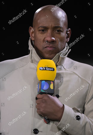 Former Cambridge United player Dion Dublin works with BT Sport during the Emirates FA Cup 3rd Round match between Cambridge United and Leeds United played at Cambs Glass Stadium , Cambridge, on 9th January 2017