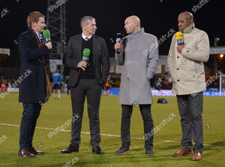 Cambridge United Chief Executive Officer Jez George speaks with Danny Mills and Dion Dublin during the Emirates FA Cup 3rd Round match between Cambridge United and Leeds United played at Cambs Glass Stadium , Cambridge, on 9th January 2017