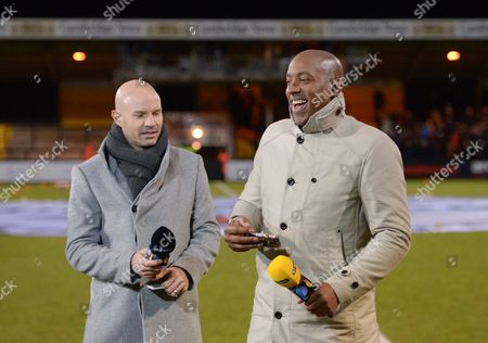 BT Sport presenters Dion Dublin and Danny Mills ahead of the Emirates FA Cup 3rd Round match between Cambridge United and Leeds United played at Cambs Glass Stadium , Cambridge, on 9th January 2017
