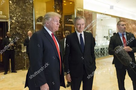 Following their meeting President-elect Donald Trump and LVHM Fashion's Alexandre and Bernard Arnault spoke with the press in the lobby of Trump Tower