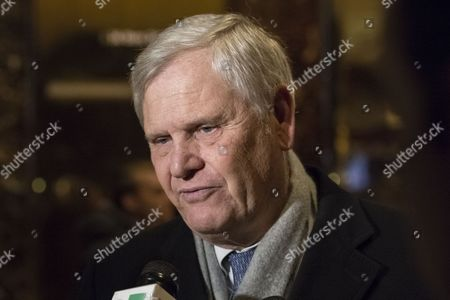 Stock Picture of Univision CEO Randy Falco is seen speaking with the press in the lobby of Trump Tower