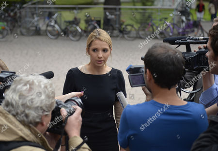 Yevgenia Tymoshenko ( the Daughter of Jailed Ukrainian Opposition Leader Yulia Tymoshenko Talks to the Media Prior to the Hearing Against the Ukrainian Governement and Yulia Tymoshenko at the European Court of Human Rights in Strasbourg France 28 August 2012 France Strasbourg
