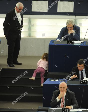 Vittoria Ronzulli Daughter of Licia Ronzulli the Italian Member of the European Parliament Crawls on the Steps During the Voting Session in the European Parliament in Strasbourg France 21 November 2012 France Strasbourg